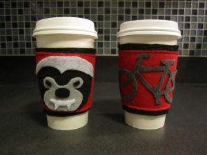 Honey Badger and bicycle coffee cozy